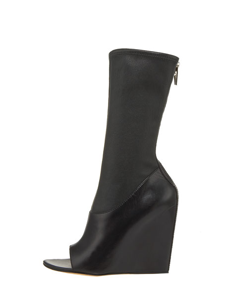 Stretch-Napa Open-Toe Wedge Boot
