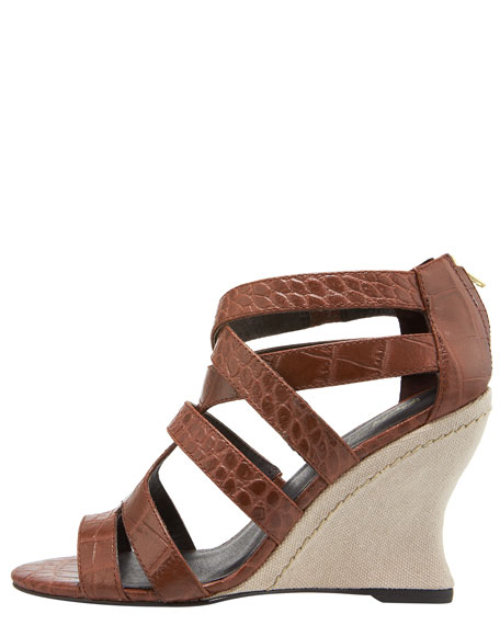 Strappy Back-Zip Wedge