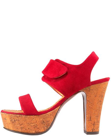 Cork-Platform Suede Sandal, Fuchsia