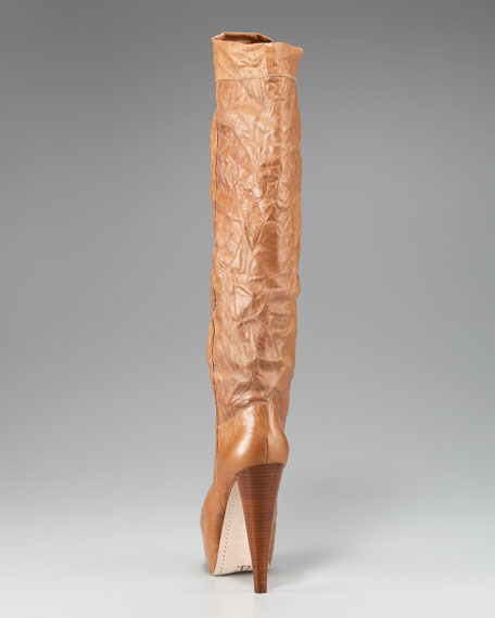 Crinkled Leather Knee Boot