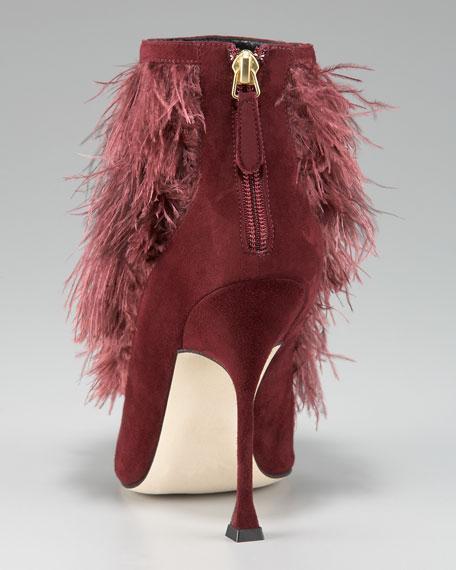 Ostrich-Feather Bootie