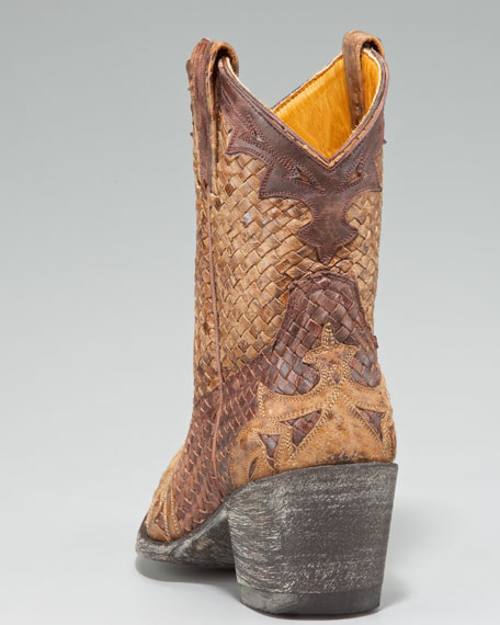 Woven-Leather Short Boot