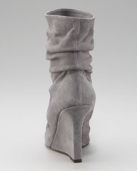 Peep-Toe Slouched Wedge Bootie, Gray