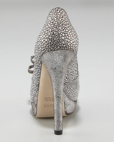 Deco Crackled Suede Pump
