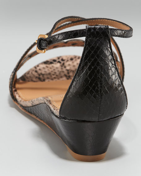 Snake-Embossed Wedge Sandal