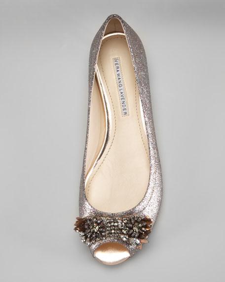 Glitter Peep-Toe Ballerina Flat