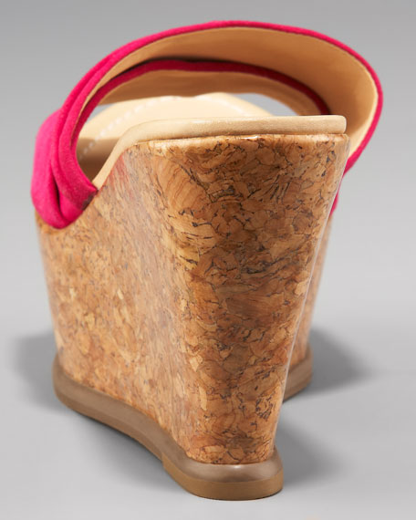 Palm Suede Lacquer Cork Wedge