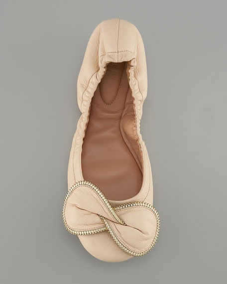 Zip-Detail Bow Ballerina