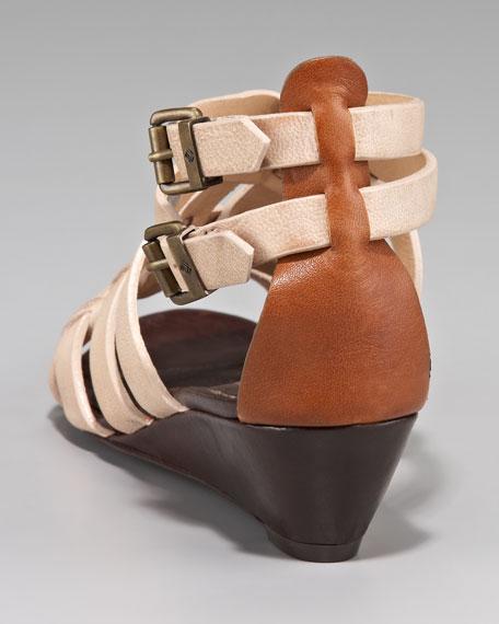 Nelle Low-Wedge Nubuck Sandal