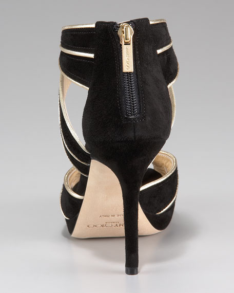 Kai Piped Suede Mid-Heel Sandal