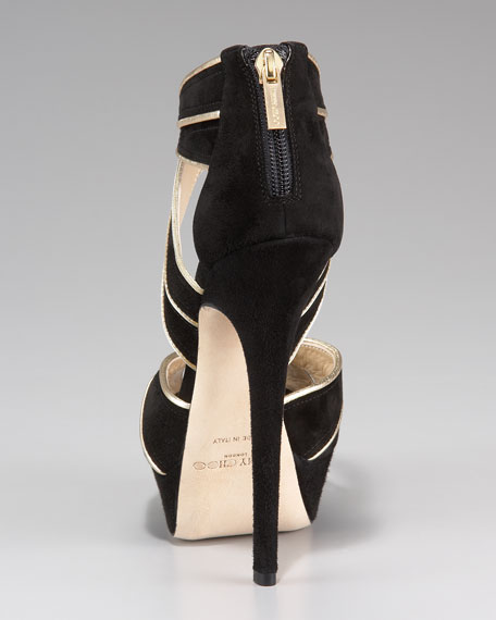 Koko Piped Suede High-Heel Sandal