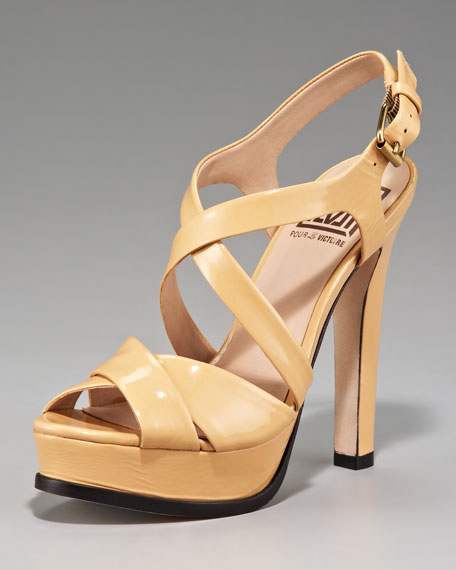 Patent-Leather Platform Sandal