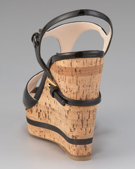 Patent and Cork Wedge with Buckles