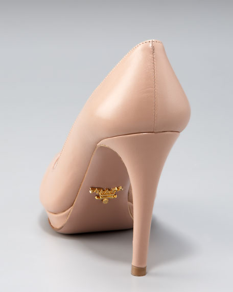 Leather Peep-Toe Platform Pump