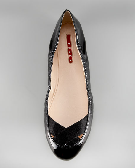Patent Ballet Flat with Crisscross Elastic Detail