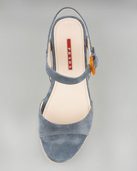 Suede Flat Sandal with Espadrille Detail