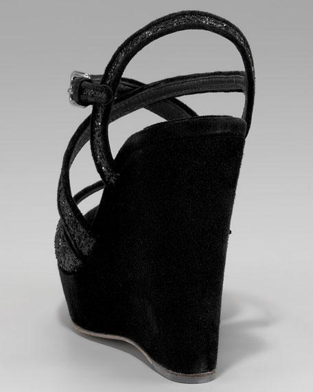 Crisscross Glitter Wedge Sandal