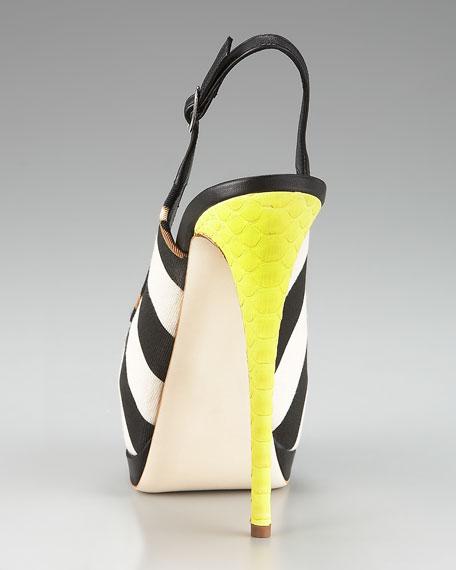 Striped Canvas Platform Sandal