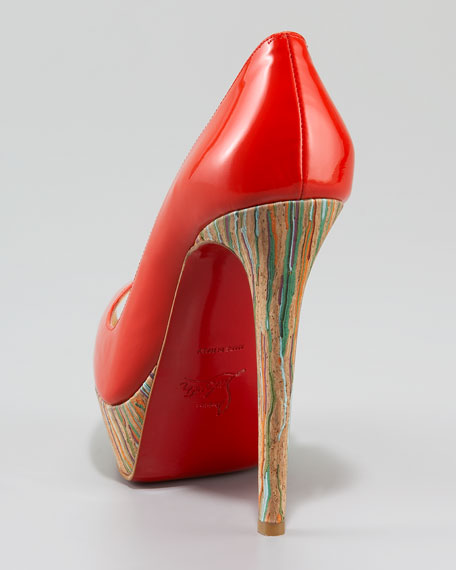 Banana Cork-Heel Patent Pump