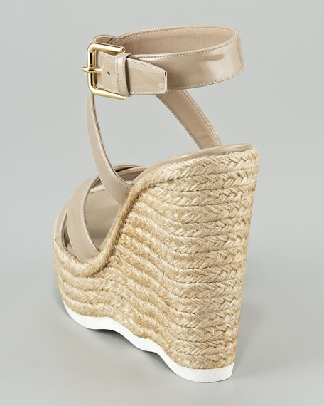 Patent Ankle-Wrap Wavy-Wedge Espadrille