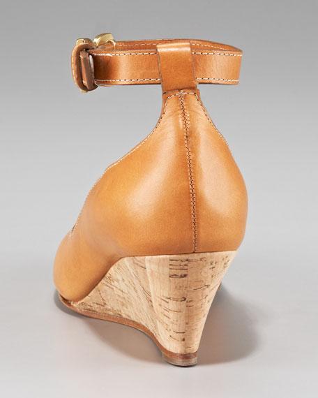 Ankle-Strap Cork-Wedge Pump