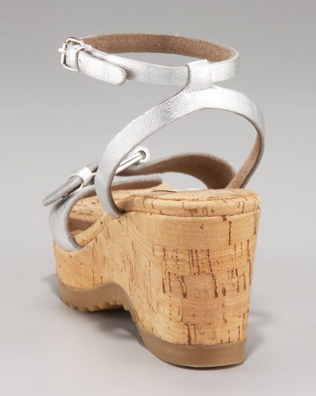Ankle-Wrap Cork-Wedge Sandal