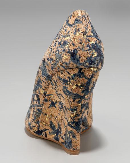 Painterly Cork Wedge Pump