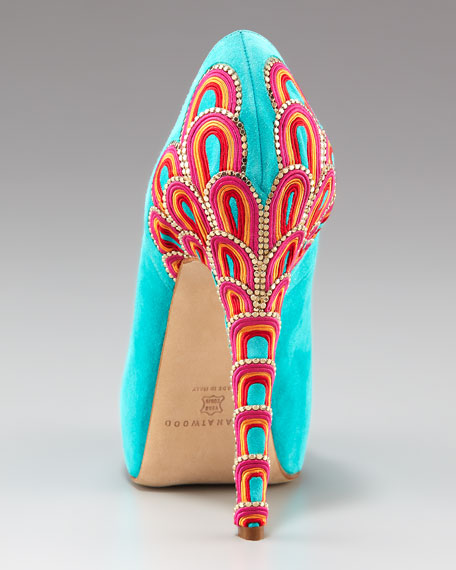 Embroidered-Heel Pump