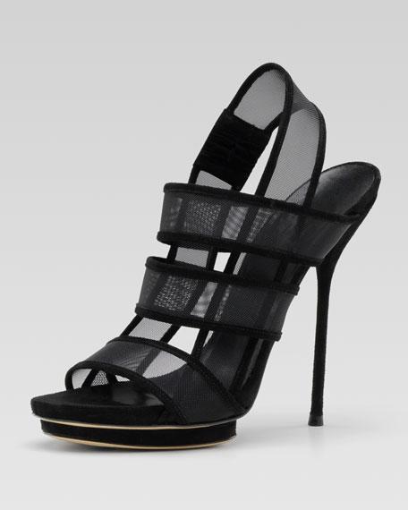 Bette High-Heel Platform Sandal, Black or Powder