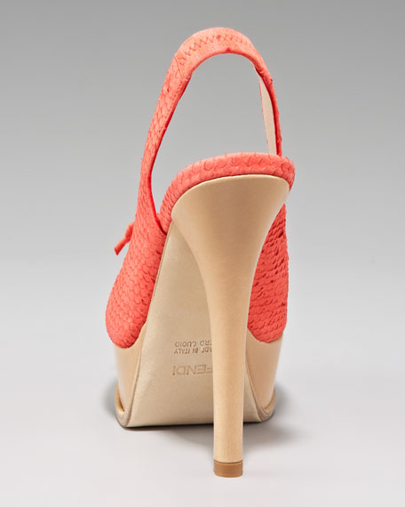 Snake-Print Slingback Platform Sandal