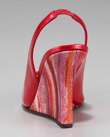 Leppi Striped-Wedge Crisscross Sandal