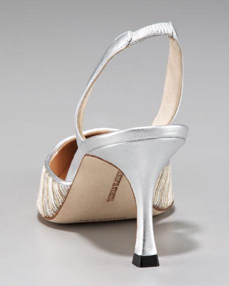 Carolyne Metallic Striped Mid-Heel Halter Slingback