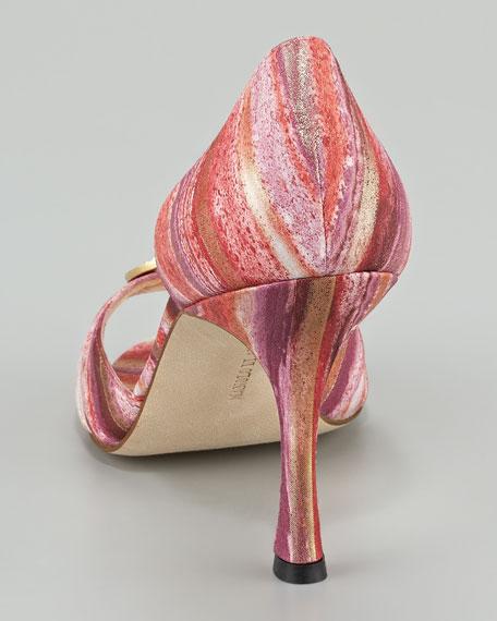 Sedaraby Bejeweled Metallic Fabric d'Orsay