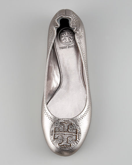 Reva Metallic Leather Ballerina, Pewter