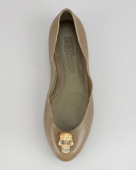 Skull-Toe Ballerina Flat