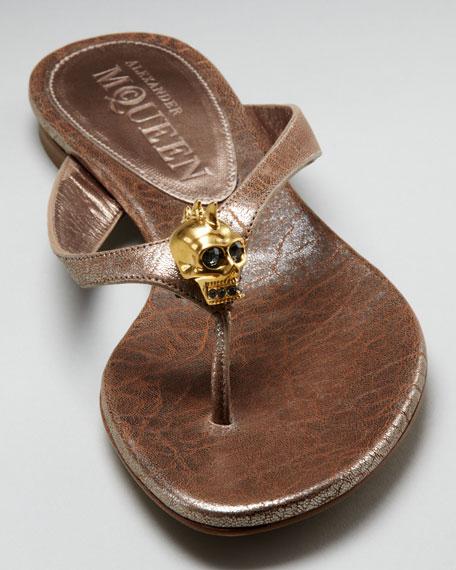 Skull-Detail Thong Sandal, Rose Gold