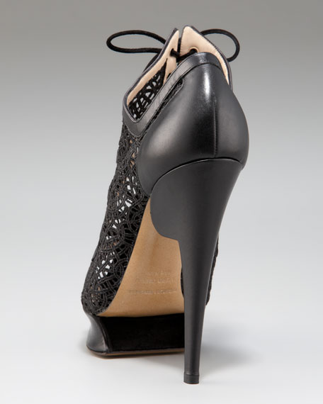 Glittered Macrame Lace-Up Platform Sandal
