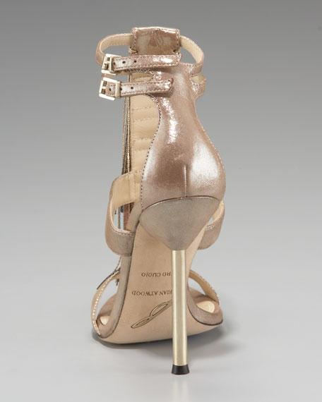 Chain-Fringe T-Strap Sandal