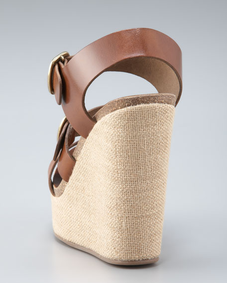 Burlap-Wedge Buckled Sandal