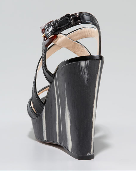 Patent Leather Wood Wedge Sandal