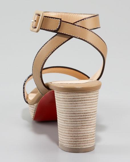 Echasse Ankle-Wrap Platform Sandal, Pomice