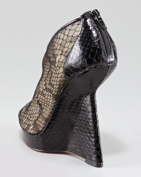 Janet Python and Lace Red Sole Wedge