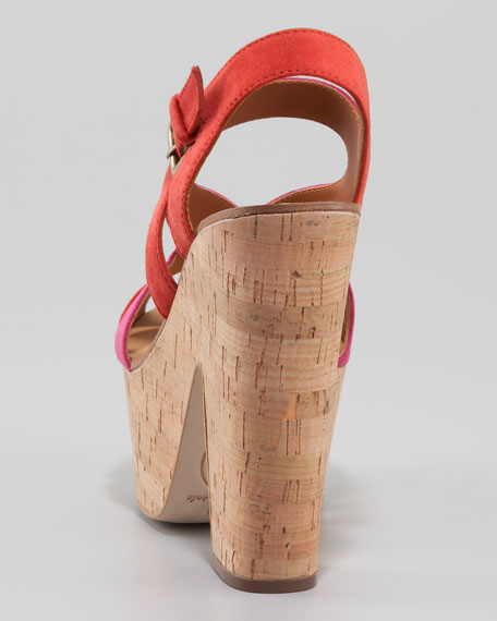 Colorblock Suede Cork Wedge