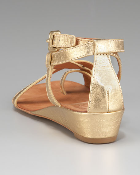 Metallic Toe-Ring Low-Wedge Sandal