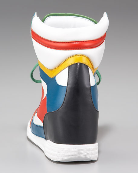 Runway Colorblock Wedge High-Top Sneaker