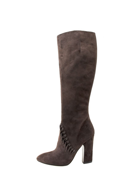 Twisted Suede Knee Boot, Brown