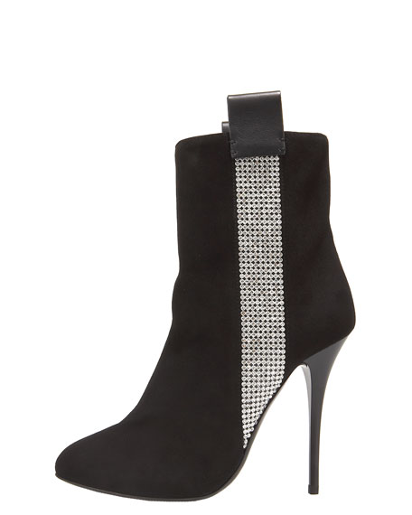 Crystal Tuxedo-Stripe Ankle Boot