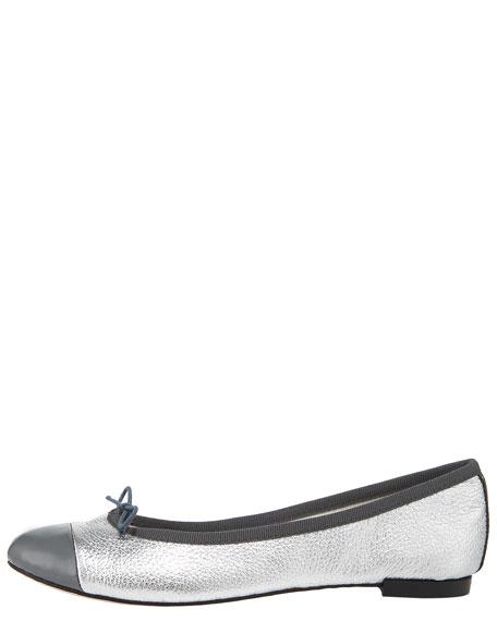 Metallic Cap-Toe Ballerina Flat