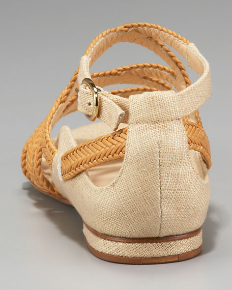 Woven Leather Flat Sandal