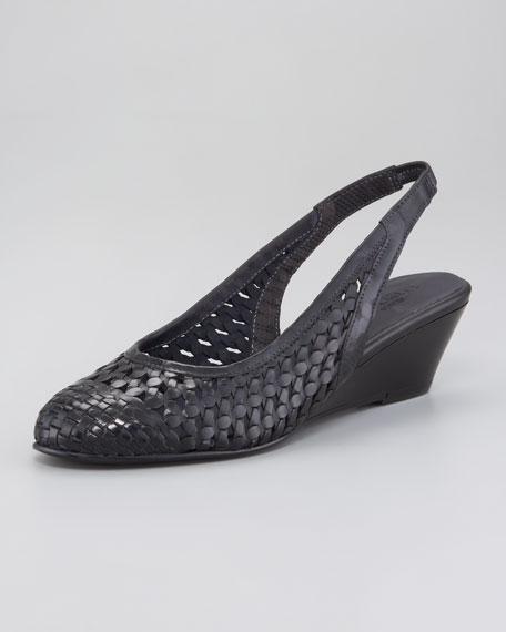 Woven Leather Slingback Wedge